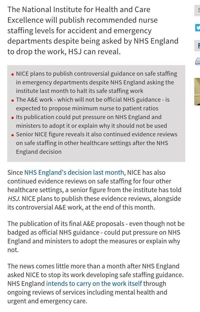 NICE to publish it's evidence on safe staffing levels despite being told by NHS England to drop the work. Well done. http://t.co/yYiSh4D7Gh