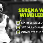 RT @SI_Tennis: Serena Williams wins her sixth #Wimbledon title, d. Muguruza 64, 64. http://t.co/s20xE90MrE