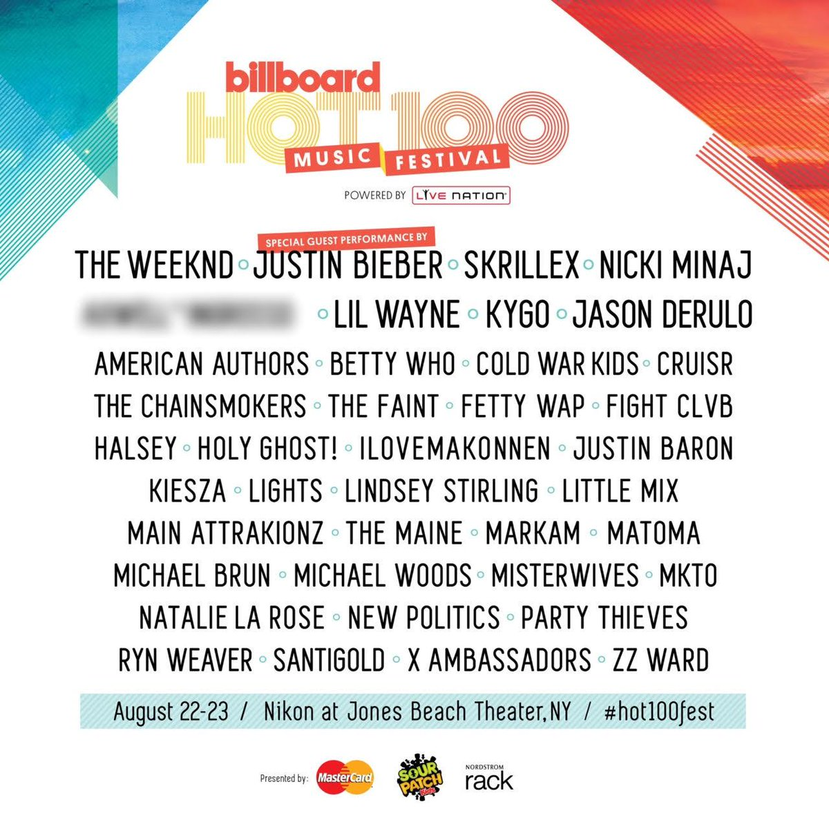 Honored to be playing with some of the biggest names in music at @Billboard's Hot 100 Festival. See you in New York! http://t.co/9CTTIo7kz1
