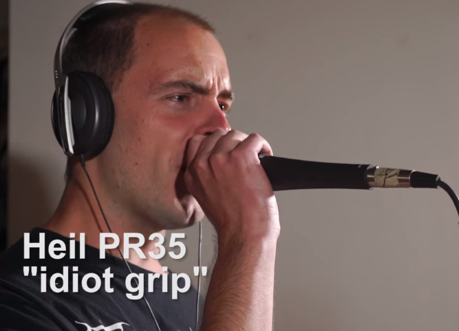 """.@SpectreMG shows how """"idiot grip"""" doesn't effect vocal performance. with the PR35 http://t.co/lrAHCtgueq #cupthis http://t.co/6VCxJnbFHA"""