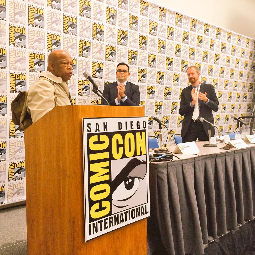 """.@repjohnlewis at Comic-Con: """"let's bring about a nonviolent revolution in America again."""" http://t.co/ANw9JTQjUC"""