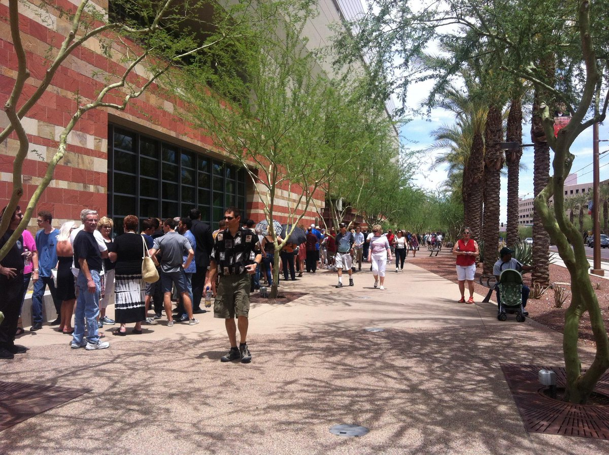Only colored person in line to hear Donald Trump speak. Let's see if they let me in... #phxtrump http://t.co/YQSr12iMAn