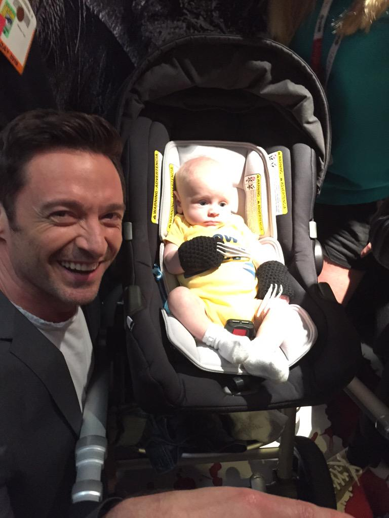 So I get into the elevator and this baby is wearing Wolvie claws... And then this happens. @RealHughJackman #sdcc http://t.co/t51nu2lnrh