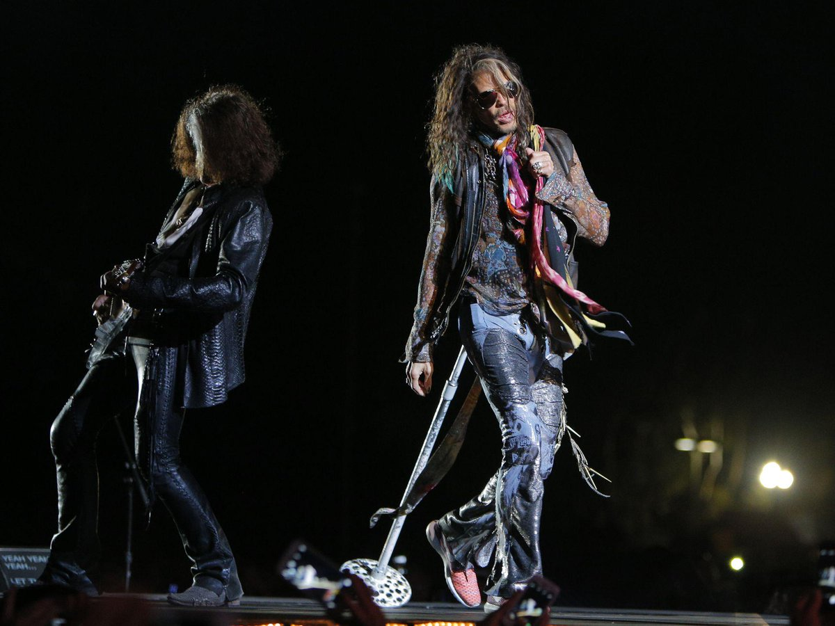 Aerosmith's @IamStevenT and @JoePerry perform during Blue Army Tour show at the Salinas Sports Complex Pic Juan Villa http://t.co/FIZjhJuKan