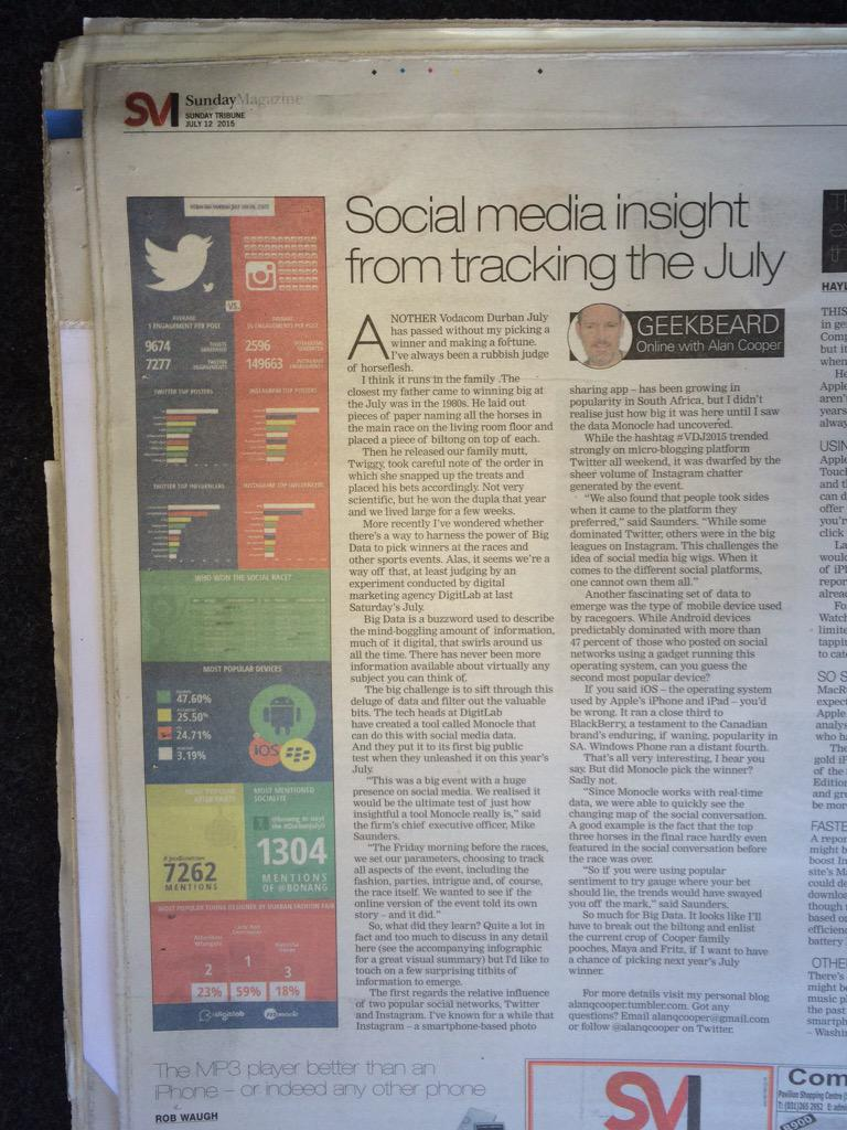 @DigitLabSA in the news again. Tks to @SundayTribuneSA & @alanqcooper for covering our #vdj2015 Data story.  #monocle http://t.co/Cyl7cZMgu0