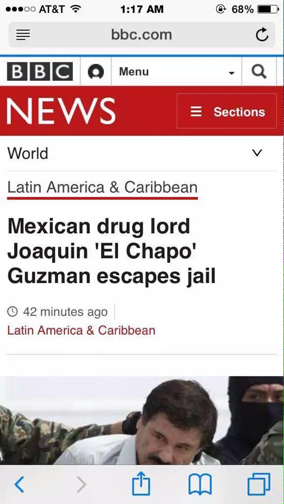 GF: Babe come over El Chapo: I can't I'm locked up in maximum security GF: My parents aren't home El Chapo: http://t.co/GBTJeKuPWW