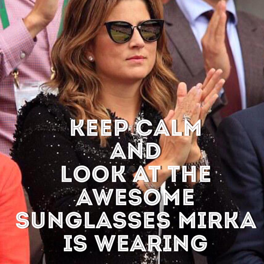 Keep calm and look at the awesome sunglasses Mirka is wearing.  #WimbledonFinal http://t.co/4HIOy2bTqa