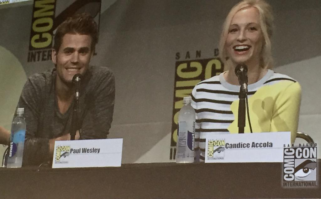 Paul Wesley and Candice Accola. #WBSDCC #TVD http://t.co/I48xP0v1cG