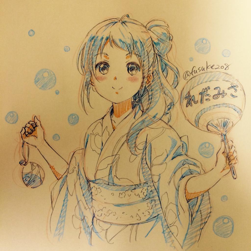初の艦娘浴衣絵は初期艦の五月雨ちゃんで。#艦娘の浴衣絵ください http://t.co/XpeFGmxESR