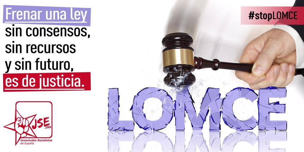 Frenar una ley que no ha generado ningún consenso, que no tiene recursos y tampoco futuro, ES DE JUSTICIA #stopLOMCE http://t.co/28Mu9XtH30