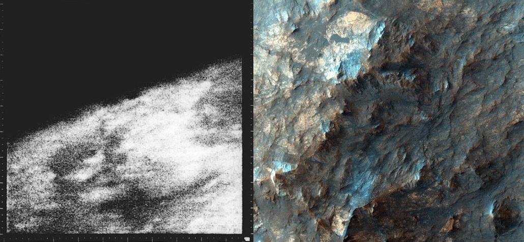 Tomorrow is 50 years since Mariner 4 imaged Mars. What a difference 5 decades makes! http://t.co/KhMB5vZziH