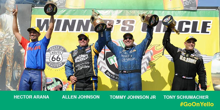 Way to lift the Wally at the #RT66Nationals @HectorJr300, @AJMoparProStock, @TommyJohnson_Jr and @TonySchumacher_! http://t.co/zBq3enTAQe