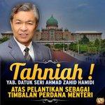 #rombakankabinet tahniah DS @Zahid_Hamidi TPM baru #Malaysia @NajibRazak @Khairykj @Huan2U @DrNovandri #kekalnajib http://t.co/YbpQZDBGDs