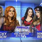 THIS THURSDAY: @BeckyLynchWWE battles Nikki @BellaTwins on @WWE #SmackDown on @Syfy! http://t.co/m2z7ya1gR7