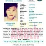 Vía @FGETabasco: Pre-Alerta Amber para localizar a la menor Karla García Guzmán, originaria de Centro, Tab. http://t.co/R2kU8gqLvd @rbtame