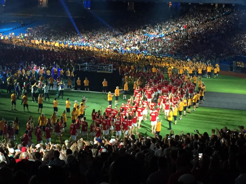 Sea of red&white. Remember - this is the biggest @TeamCanada ever for a multi sport games. 700+ #CBCPanAm #CBCTO http://t.co/axuljvOlez