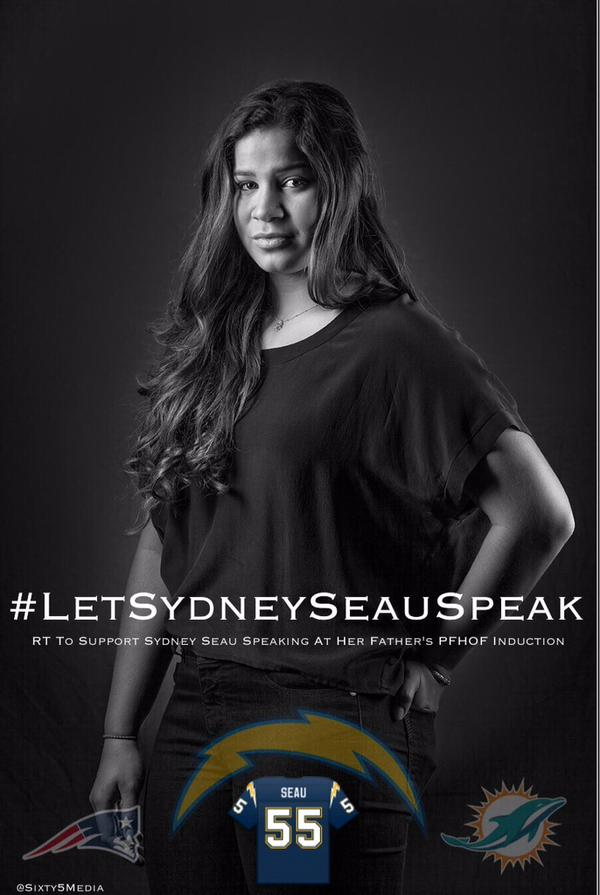 Twitter fam, let's tell @ProFootballHOF they need to #LetSydneySeauSpeak (H/T @Sixty5Media). Please RT to support! http://t.co/kPYCUlnO8V