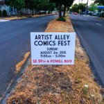 Signage out & in full view! Thank you @ColorHaus for the amazing prints on the signage & banners! #PDXAACF2015 #pdx http://t.co/d3jvRCujTv