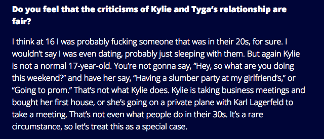 Khloe's comment to Complex about Kylie + Tyga............. http://t.co/utninuuQPm