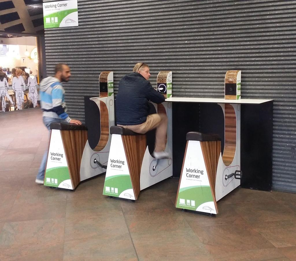 The best thing I've seen today. Charge your tablet or phone using an exercise bike at Antwerp station http://t.co/QwoWs3kUOI