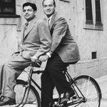 Bob Hope gives columnist Sidney Skolsky a ride home on his bicycle, 1943. See more: http://t.co/iRL7SBt8B0