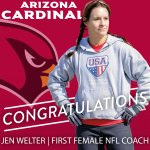 Congrats Jen Welter, who joins the @AZCardinals as a training camp/preseason intern, coaching inside linebackers! http://t.co/lPKAHqEFfq