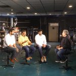 Shot with #Bahubali team in the projection room of @Prasadzimax in Hyd. Interview tonight at 8pm & 10.30pm CNN-IBN
