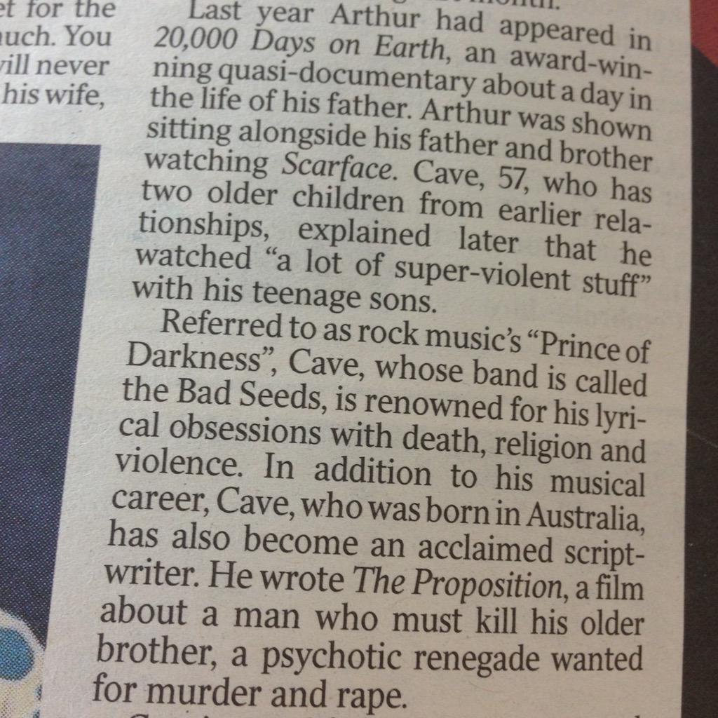 Ugh, the way the Times is reporting on the death of Nick Cave's son is vile. http://t.co/KwlTzxmXvT