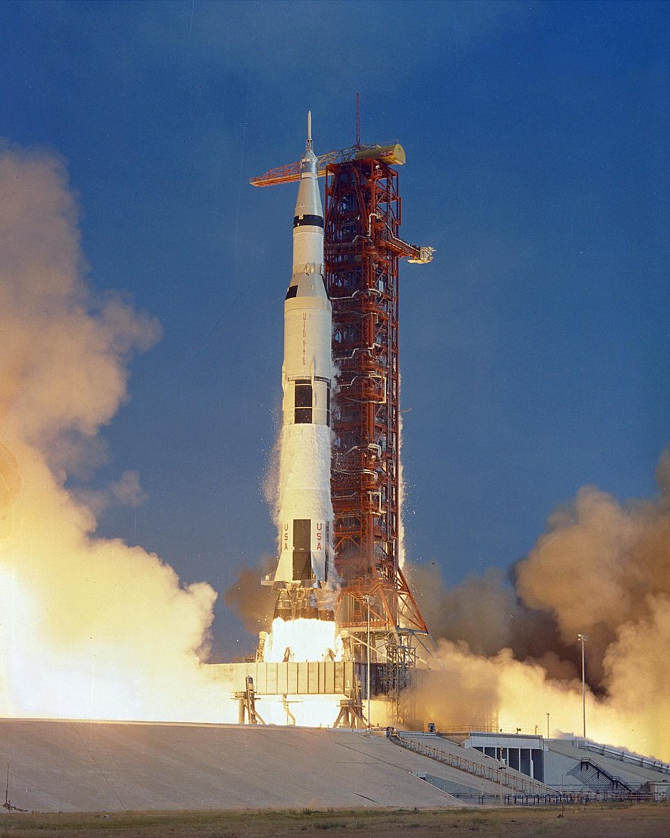 Apollo11 SaturnV lifts off  9:32 am EDT July 16, 1969, from Kennedy Space Center's LC-39A #OTD #TDIH photo by NASA http://t.co/AVwax1xOwu