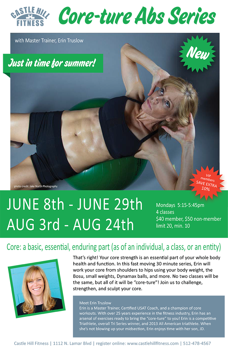 Core-ture Abs Series  with Erin  5:15 to 5:45 p.m. Mondays, Aug 3rd – Aug 24th http://t.co/WoVOvyfPjW