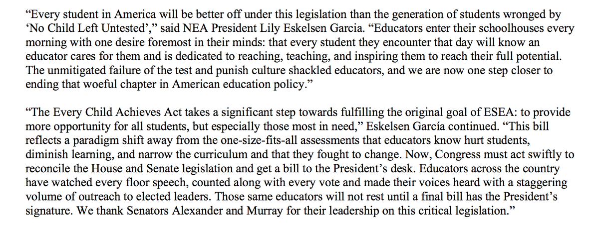 Statement on final passage of Every Child Achieves Act w/ quote from @Lily_NEA:  http://t.co/BsI6QXUXlr #getESEAright http://t.co/wXPGlzdDrt