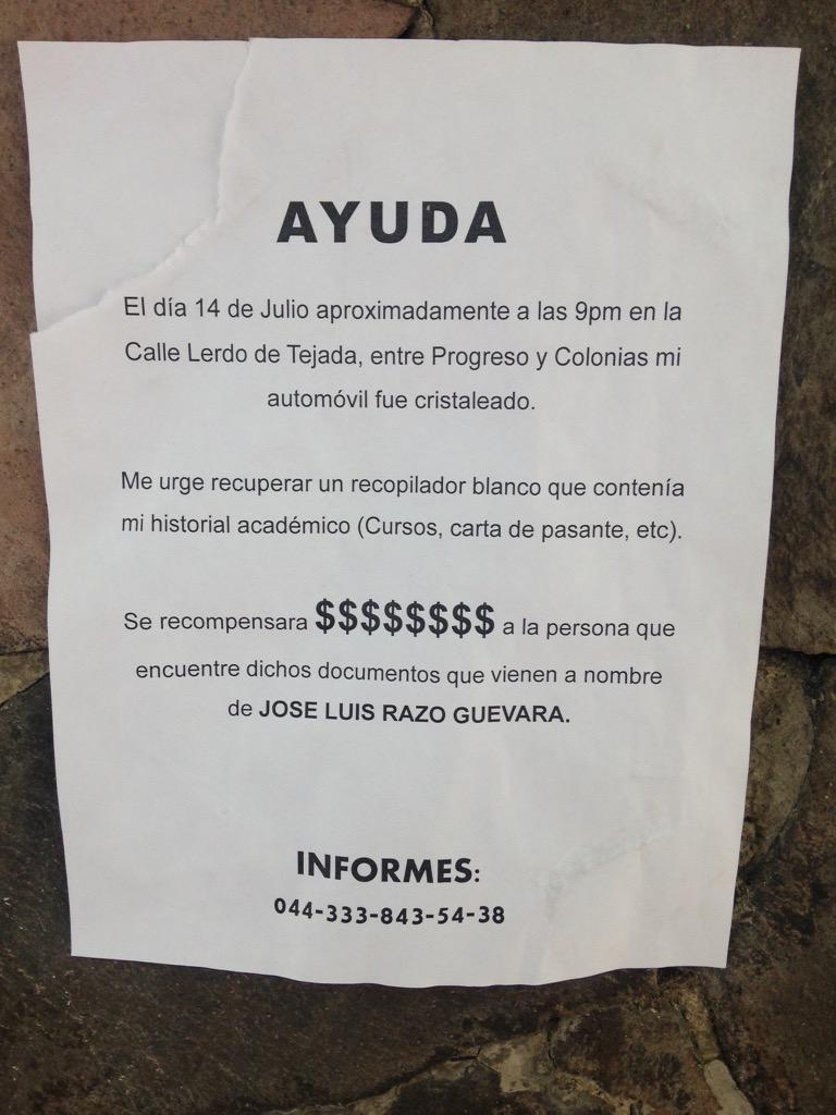 Le robaron su historial académico en Chapultepec y le urge encontrarlo. Por favor ayuden con un RT @tuenchapu http://t.co/YBctPwMxy6