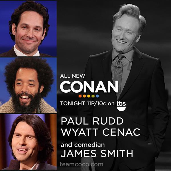 Tonight! I'm performing on #CONAN @ 11P/10c on tbs. Promoting my shows @Just_For_Laughs #JFLMTL next week Please RT! http://t.co/8ixWxPCwV9