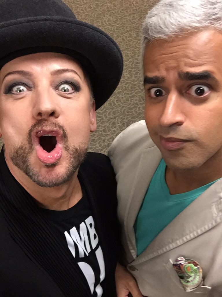 Wake up w @BoyGeorge #CultureClub Fri on @BT_Vancouver. Good use of black in that wardrobe amigo. http://t.co/eS0VLZCF0o