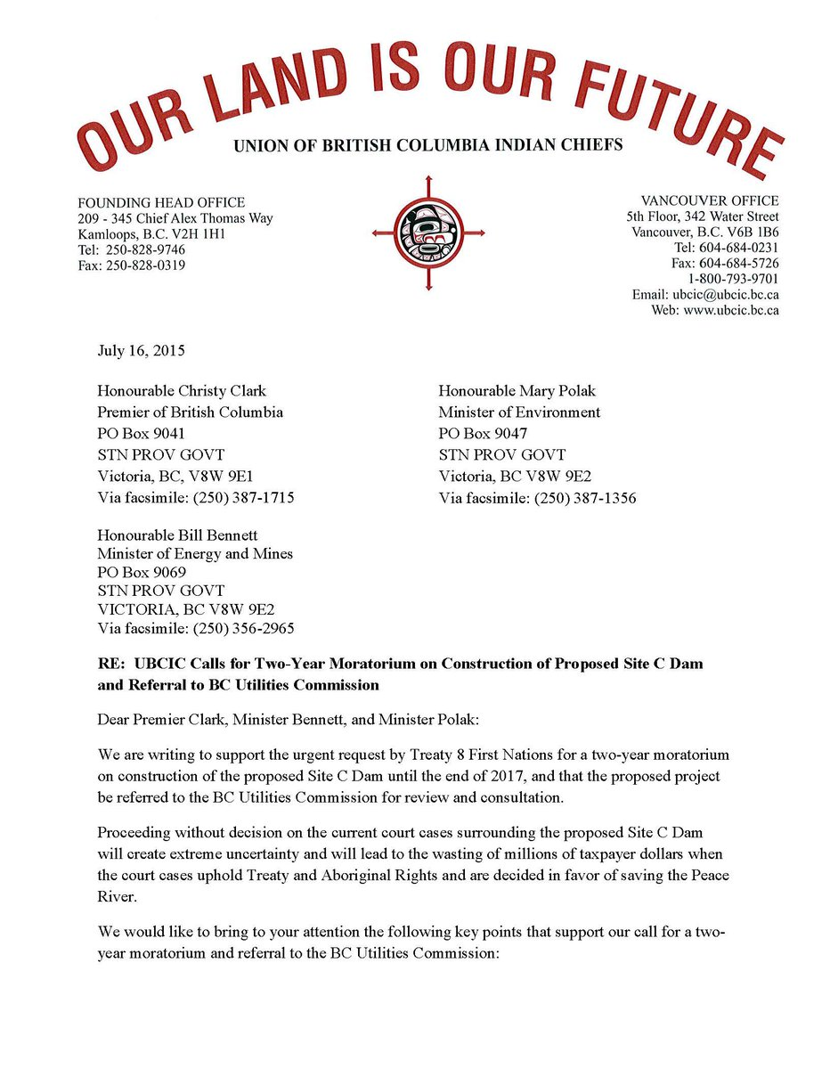 UBCIC Calls for Two-Year Moratorium on Construction of Proposed #SiteC & Referral to BC Utilities Commission. #bcpoli http://t.co/74YNgylfXe