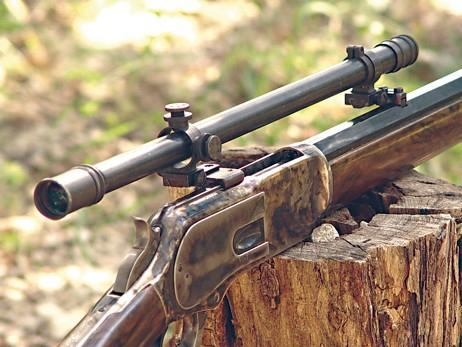 1873 Winchester with a replica Malcolm scope. http://t.co/uwxUuKp6ub