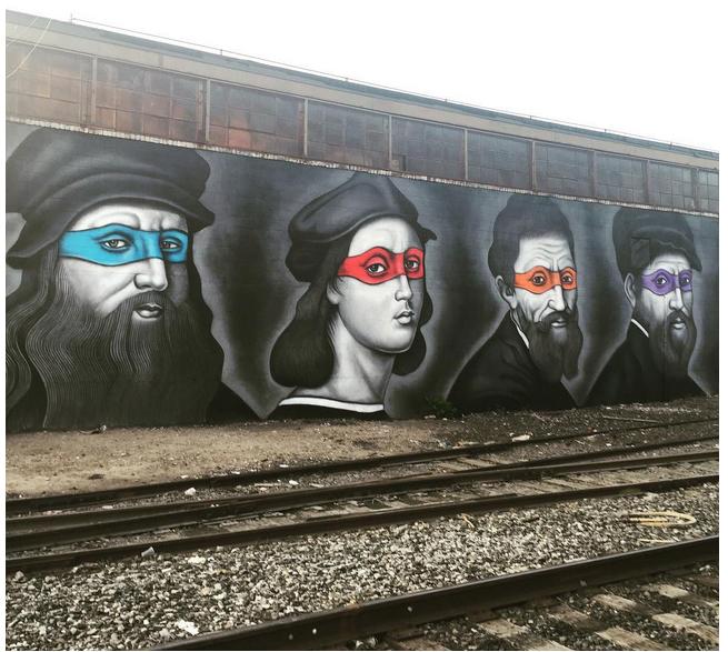 #TMNT? Renaissance artists? Some great #Brooklyn graffiti via @ScottBeale and @LaughingSquid. http://t.co/fBbAJls3hU http://t.co/Pf5dTysOHw