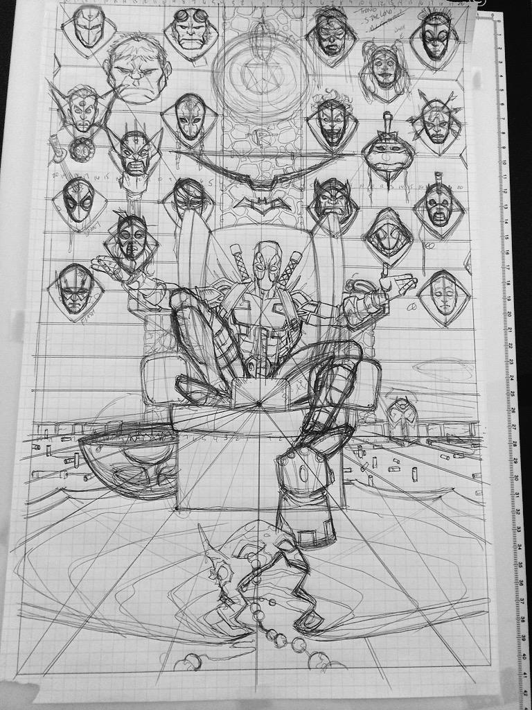 DEADPOOL, Layouts to finished inks. http://t.co/ohXbtVkUCo