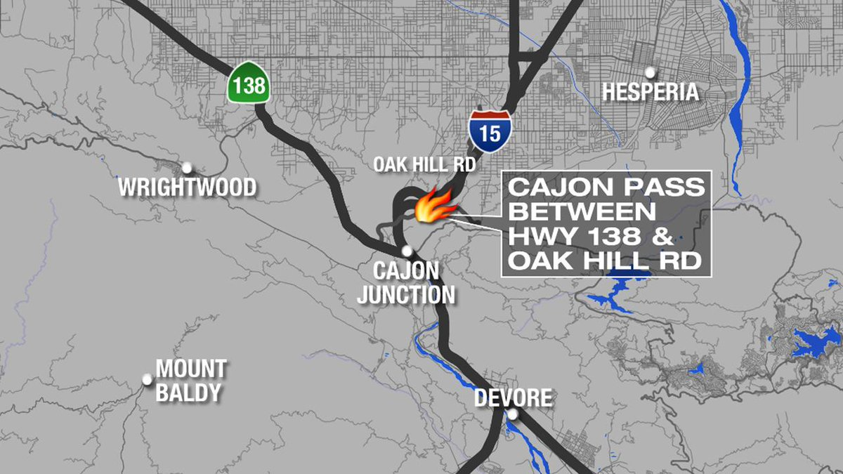 Map Location of fire burning on San Bernardino 39 s Cajon Pass fire has gr