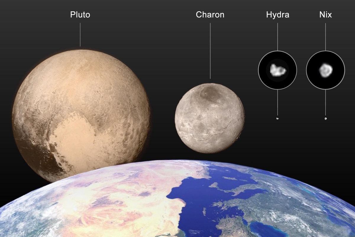 Here you go! The Pluto family sizes to scale, thanks to @NASANewHorizons #PlutoFlyby imagery + measurements. http://t.co/eFOegicog1