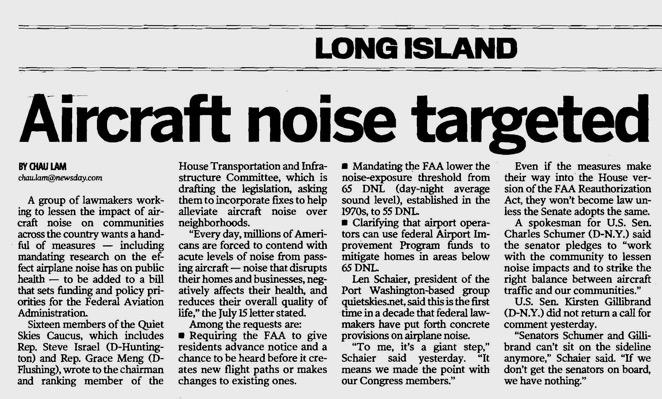 Great article in today's Newsday.  Thank you again to the Quiet Skies Congressional Caucus! http://t.co/LsXbCShDyk