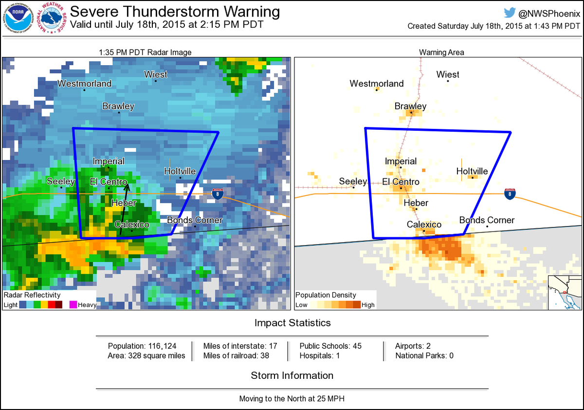 Map Severe Thunderstorm Warning Issued For Imperial Calexico And El Centro Calif Until 2 15 Pm Pt Atnwsphoenix