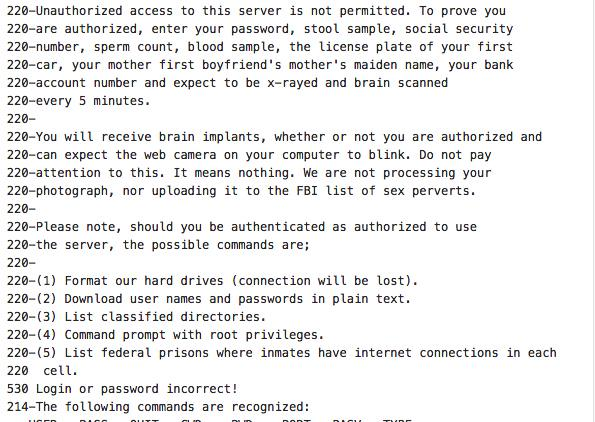 Best unsecured FTP server connect message I've seen yet. http://t.co/oWhlMkiwjC