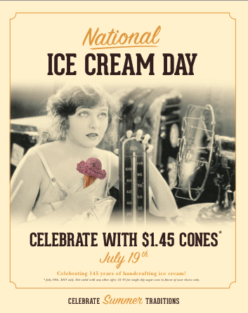 Happy #NationalIceCreamDay! Come visit us for a $1.45 #icecream cone! #celebrate http://t.co/nlUfGkl5dm