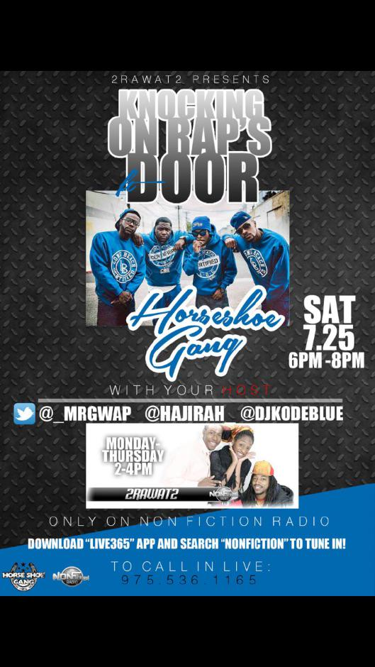 Attention Yall get ready for that new @HORSESHOEGANG #EP 7/24 #KnockingOnRapDoor #Pr.... http://t.co/c6cEFtqBRK http://t.co/hev5daBjjz