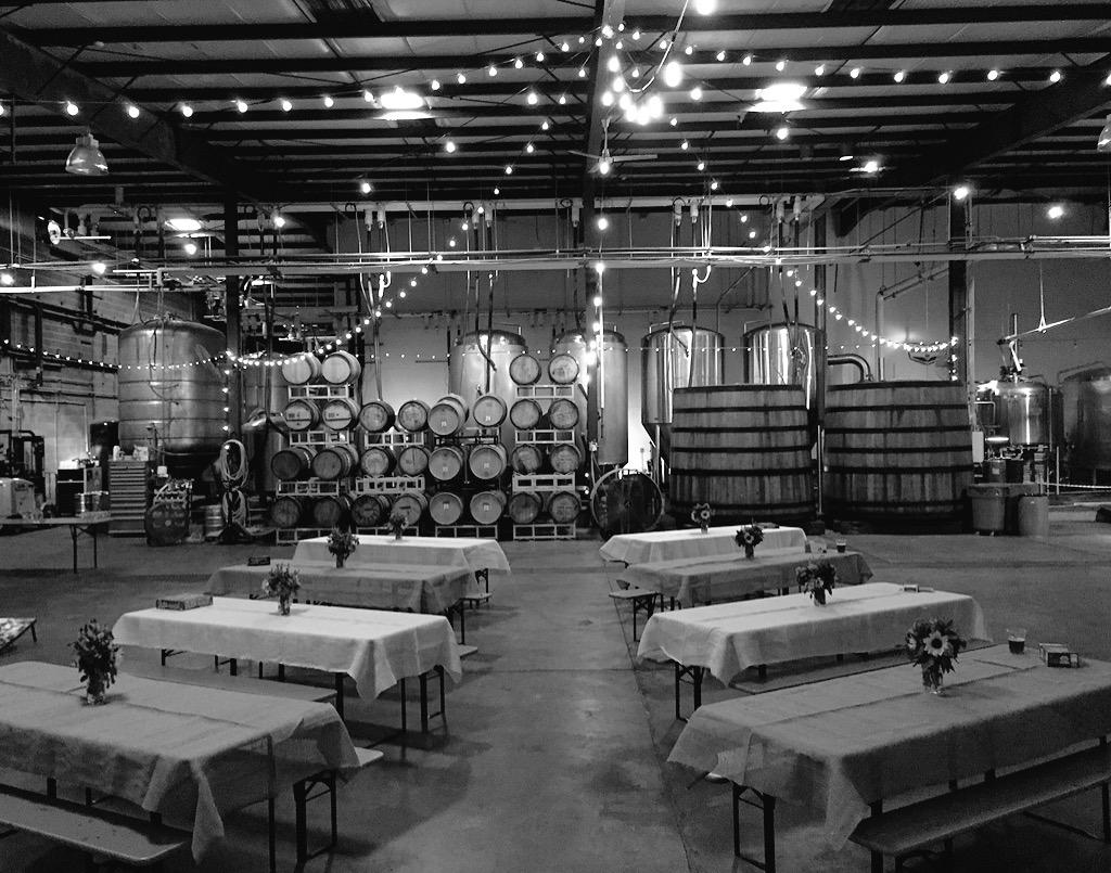 Check out the set up in our brewery for a beautiful #weddingreception last night. #Raleigh #raleighwedding #ncbeer http://t.co/zk1nYoW0wl