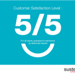 RT @MahindraSusten: Our clients have given us 5/5 rating for all the plants operated and maintained by Mahindra Susten. http://t.co/6b7vf8O…