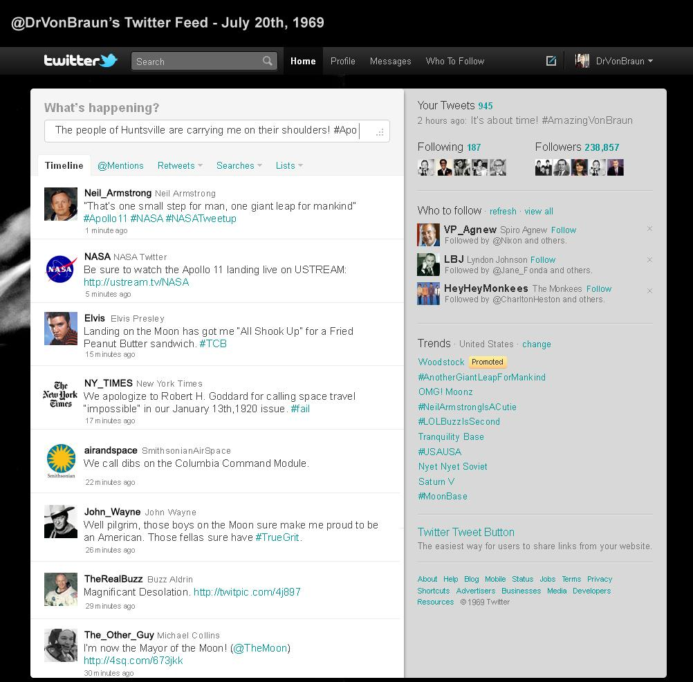 How Twitter would've looked when #Apollo11 landed on July 20th, 1969. http://t.co/2nAibK6rZ2