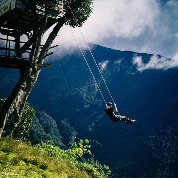 """There's a swing on the edge of a cliff in Ecuador called """"Swing at the End of the World"""". http://t.co/GXiXYpEfuL"""