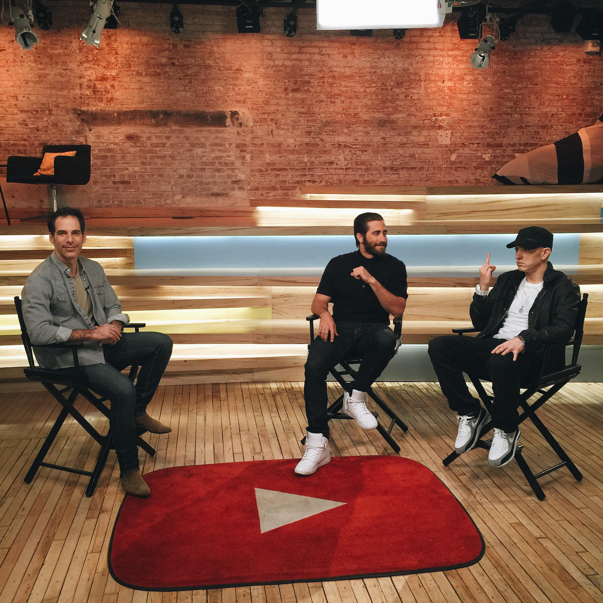 Me + Jake getting ready with Joe Levy for the #Southpaw sessions live tomorrow at the @Youtube Space in NYC. http://t.co/54NzRqWRhv